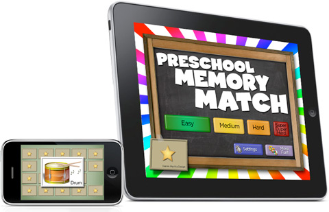 Preschool Memory Match App for the iPhone, iPod and iPad